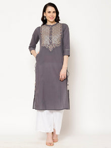 Rama's Grey Solid Straight Rayon Embroidered Kurta