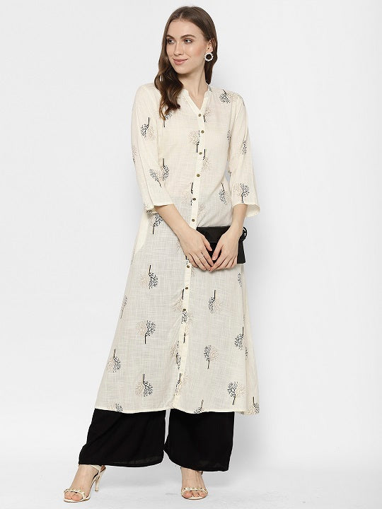 Rama,s Off White Colour Cotton  Block Print Straight Kurta