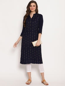 Navy Blue Viscose Rayon Kurtas