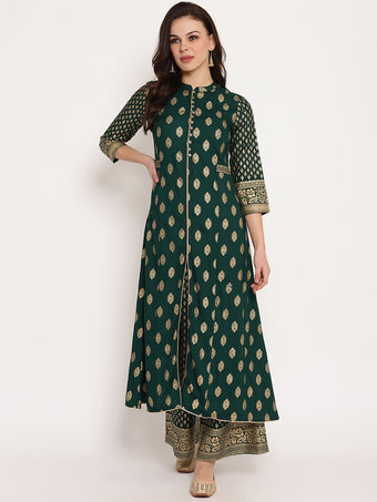 Rama's Black Rayon Gold Print straight  Kurta with Palazzo