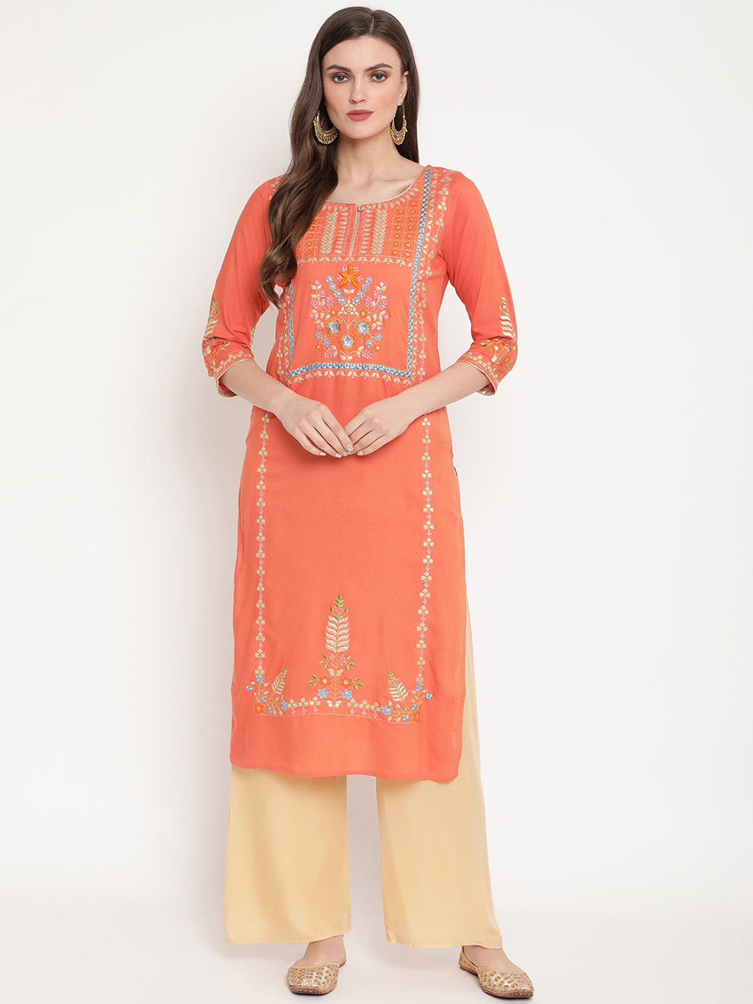 Rama's women Embroidered straight kurta