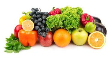 A pile of fruits and vegetables