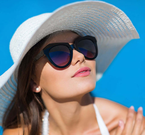 Woman in sunglasses and a sun hat
