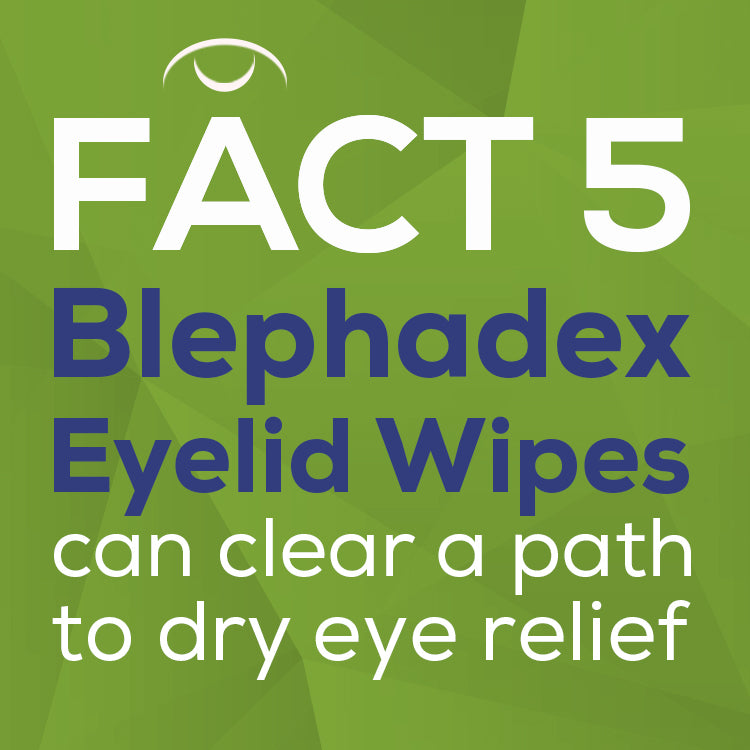 text: Blephadex eyelid wipes can clear a path to dry eye relief