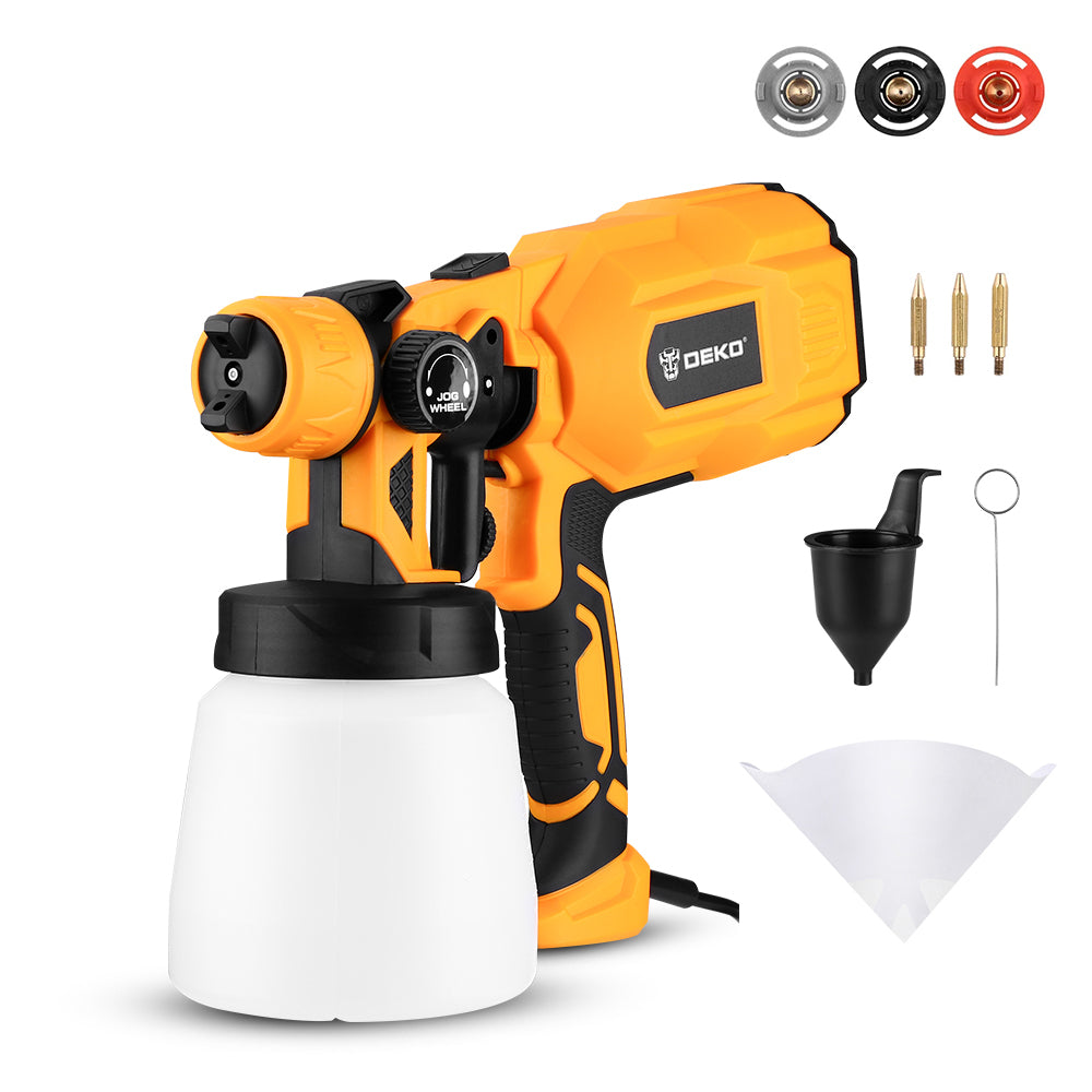 DEKO Spray Gun, 20V High Power Electric Paint Sprayer,  spray emulsion paint , splash paint, 3 Nozzle Easy Spraying