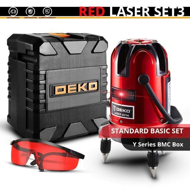 DEKO LL5 Series 5 Line 6 Points Red Laser Level Self-leveling Horizontal&Vertical 360 Degree Adjustment Higher Visibility