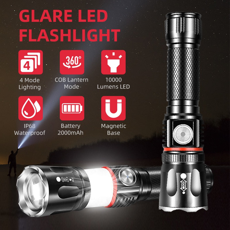 Multifunctional Glare LED Flashlight 4 Modes COB Lighting USB Charging Magnet Outdoor Lighting Waterproof Zoomable Flashlight Magnetic Base For Camping
