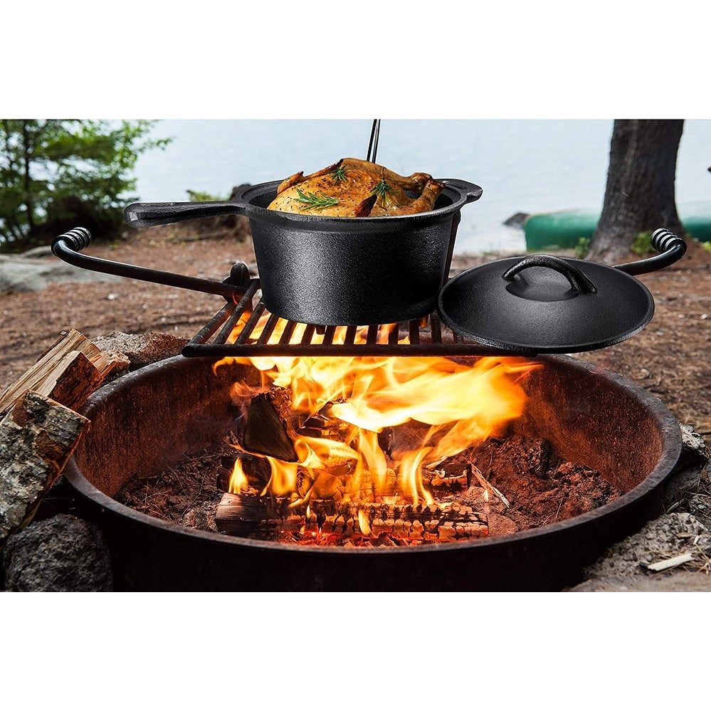 7 Piece Heavy Duty Cast Iron Camping Cooking Set with Box - Cast Iron Dutch Oven Camping Cooking