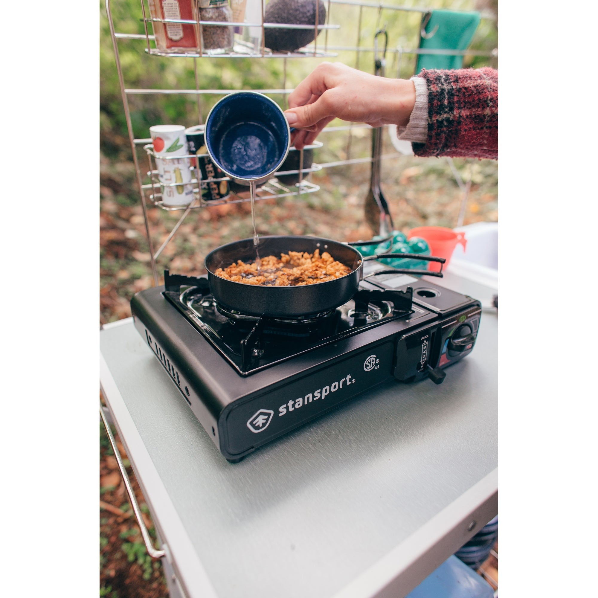 Stansport Portable Outdoor Butane Stove - Black - 13.38