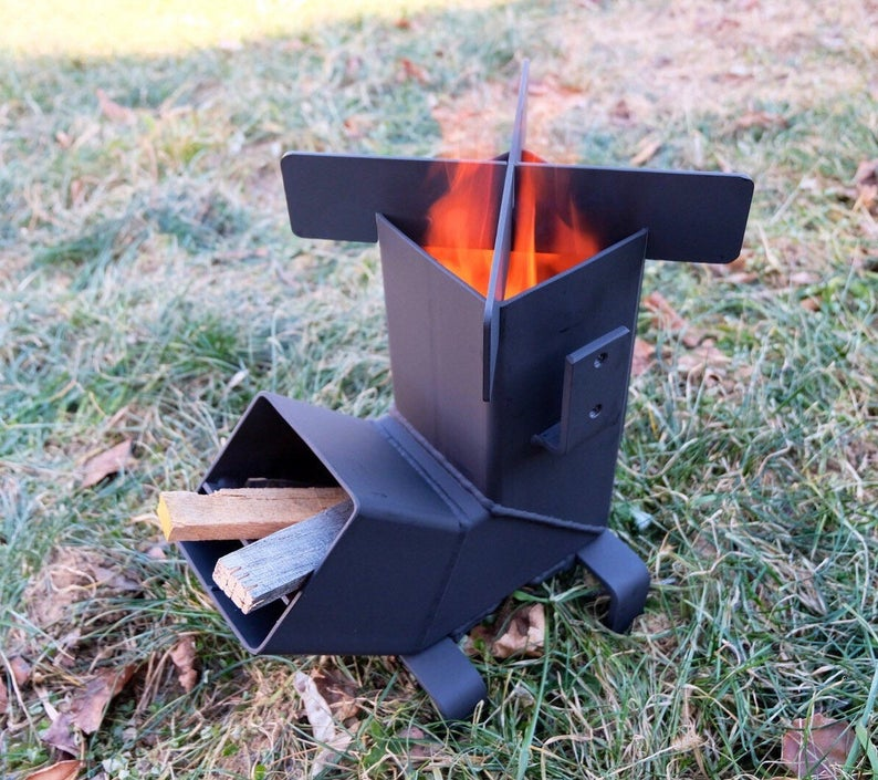 Rocket Stove *Removable top and Self Feeding*  ChristiansburgWeld Rocket Stove  Camping Stove  Wood Stove  Emergency Stove Survival
