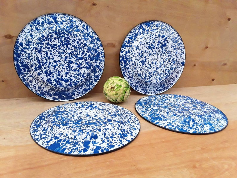 Vintage enamelware plates -  blue splatterware dinner plates - graniteware - enamelware plates - camping dishes - set of 4 - outdoor dining