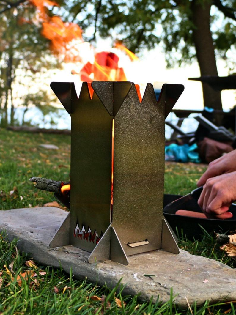 Flat Pack Rocket Stove | Collapsible Portable Stainless Camping Wood Stove | Backpack, Bushcraft, Survival, Bugout, Hiking |