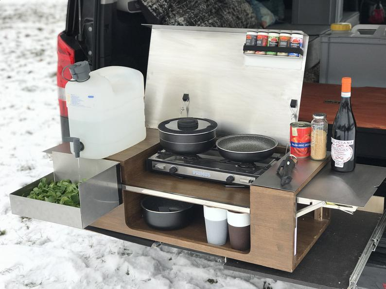 Camping kitchen  mobile kitchen box  car kitchen  Primus gas stove  rear kitchen Chuckbox