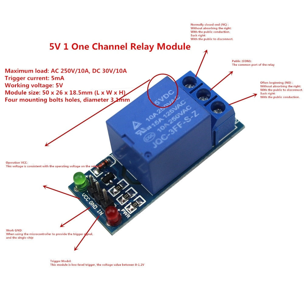 5V/12V 1 One Channel Relay Module Low Level for SCM Household Appliance Control for arduino DIY  Kit