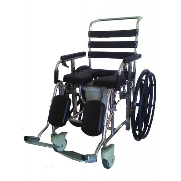 Mobile Commode - Self Propelled - Stainless Steel