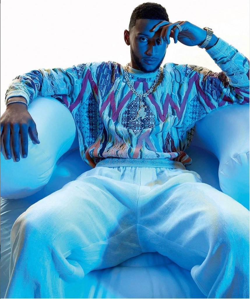 Ben Simmons for GQ Aus in Coogi Sweater from Storeroom Vintage