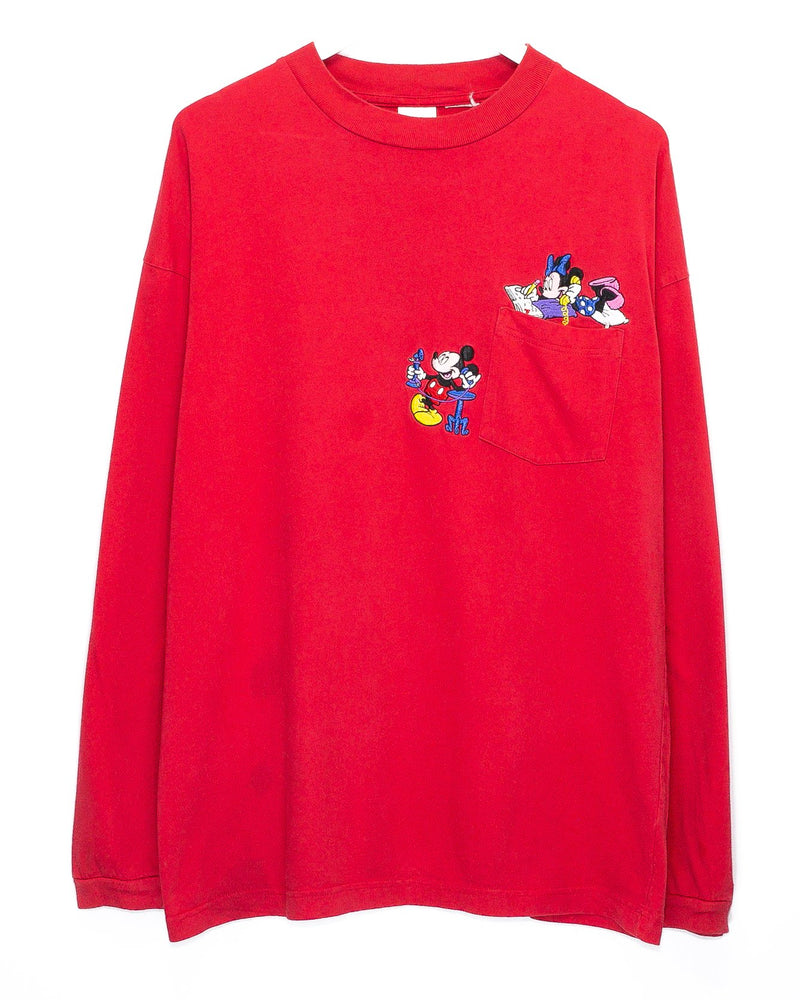 Vintage Mickey Mouse Embroidered Longsleeve T-Shirt <br> (L)