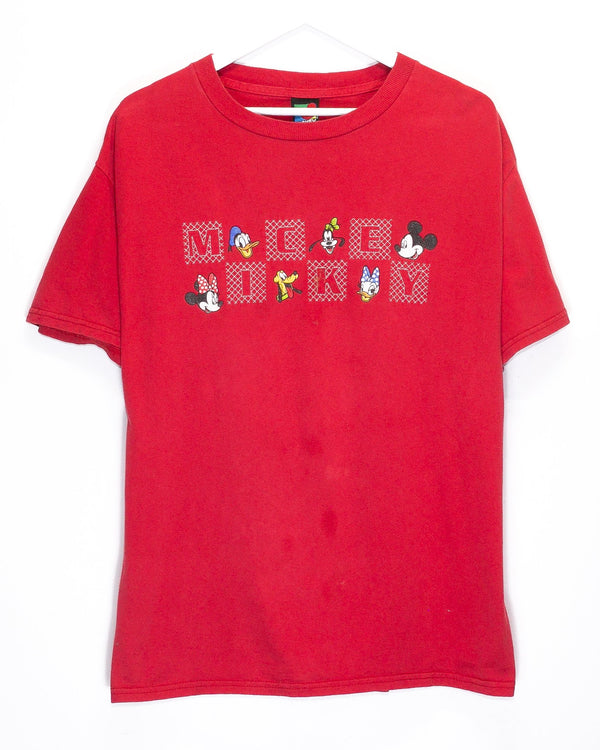 Vintage Mickey Mouse Embroidered T-Shirt <br> (L/XL)