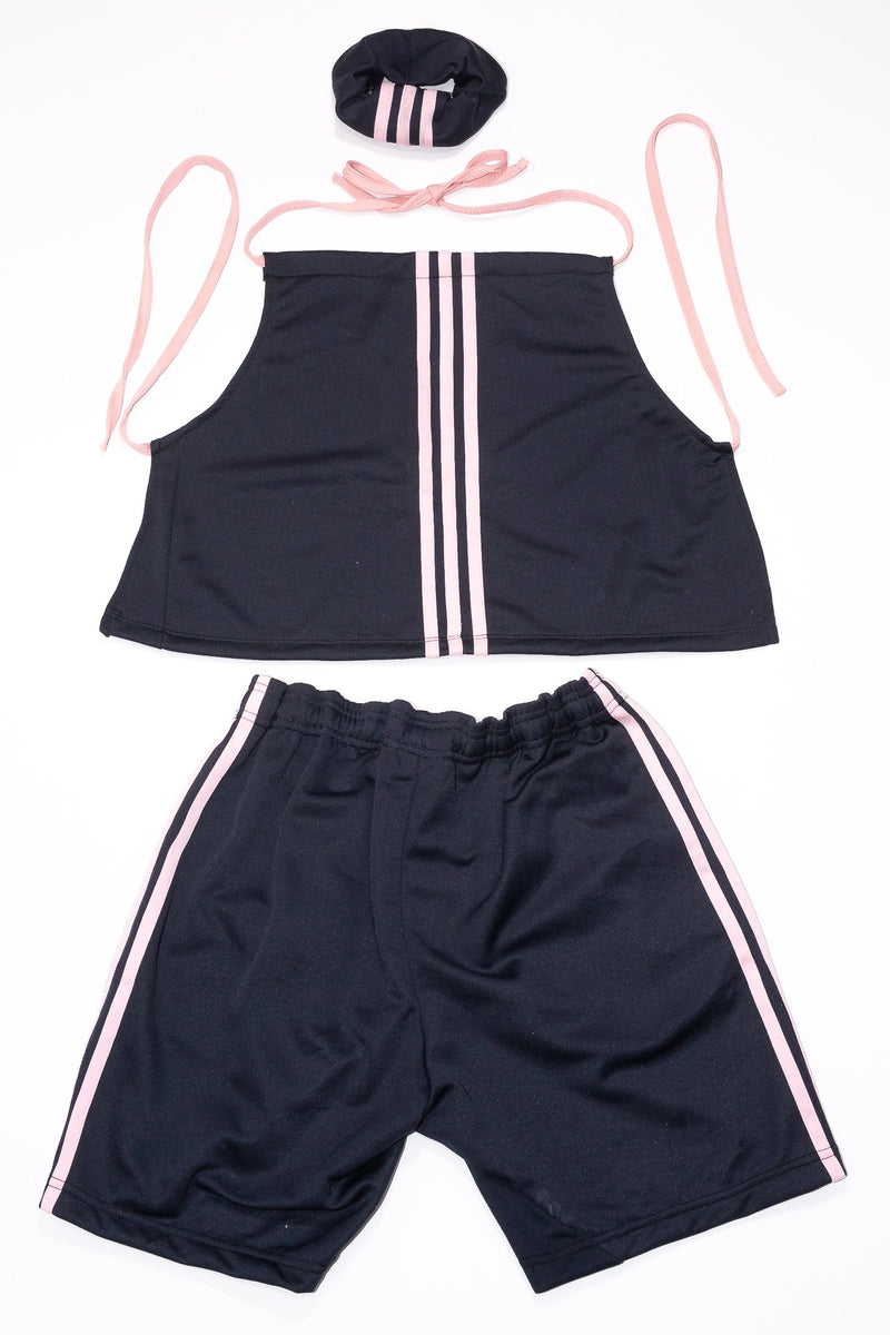 Backless Halter Top/Shorts Rework'd Adidas Tracksuit Set <br> (L)