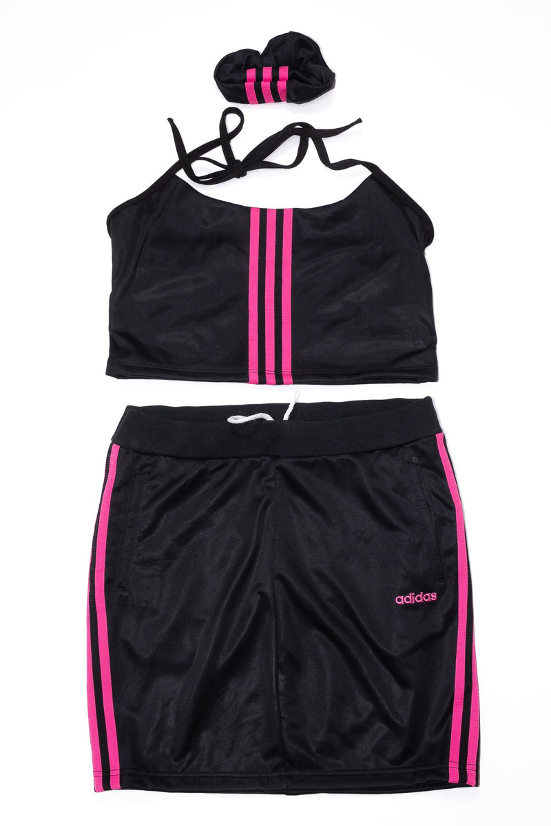 Halter Top/Skirt Rework'd Adidas Tracksuit Set <br> (L)