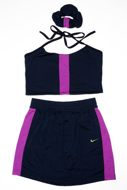 Halter Top/ Skirt Rework'd Nike Tracksuit Set <br> (M)