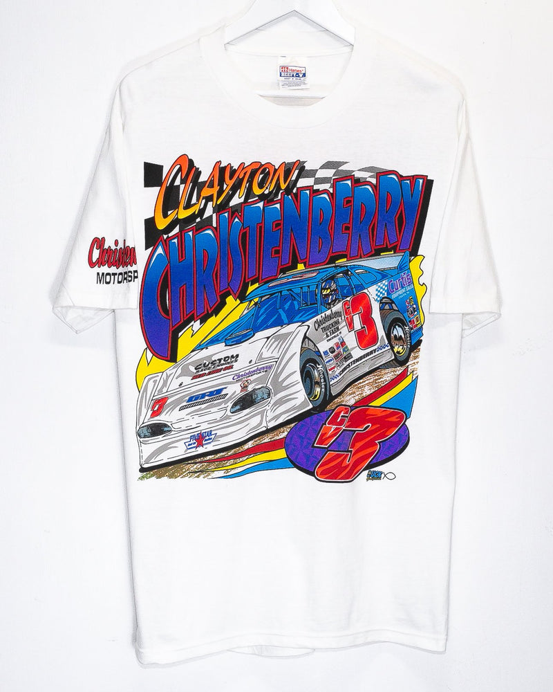 Vintage Clayton Christenberry Nascar Racing T-Shirt <br> (L/XL)