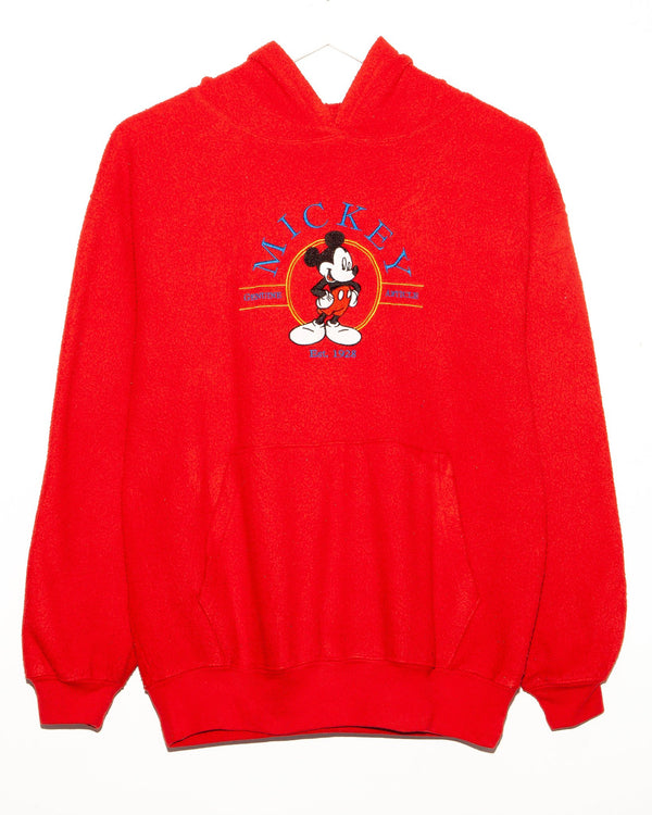 Vintage Mickey Mouse Embroidered Fleece Hoodie  <br> (M)