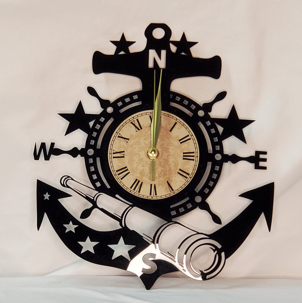 Laser Cut Acrylic Clock - Anchor
