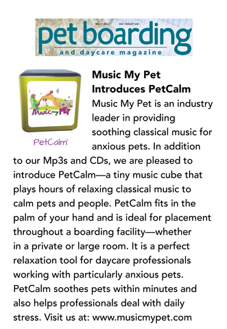 Pet Boarding and Daycare Magazine features PetCalm.