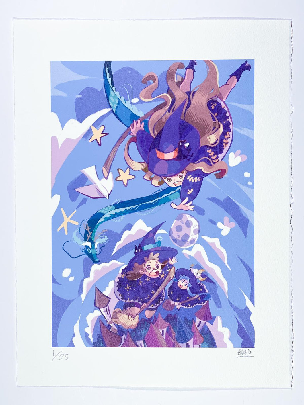 Witches digital drawing blue and purple color printed on paper in limited edition by Hong kong street artist Bao Ho