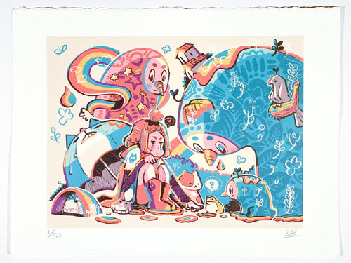 Print by Hong Kong artist Bao Ho for the exhibition Mukashi Mukashi. Signed and numbered in limited edition print