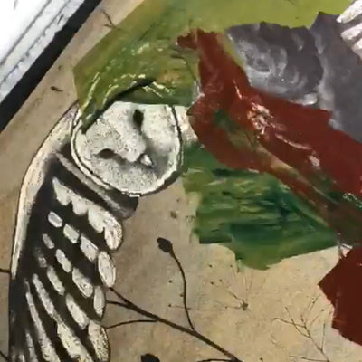 Inking the collagraph plate - Silent Flight