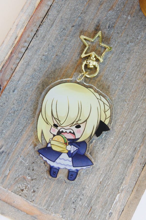 Summer and Burger Saber Keychains