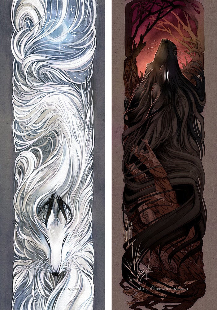 Spirit Wolf and Midnight Wolf 8x24 Foil Prints