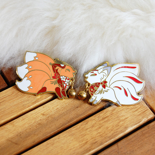Jingle Fox Enamel Pins