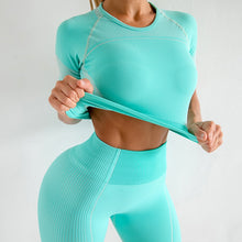 Load image into Gallery viewer, Seamless short sleeve yoga suit