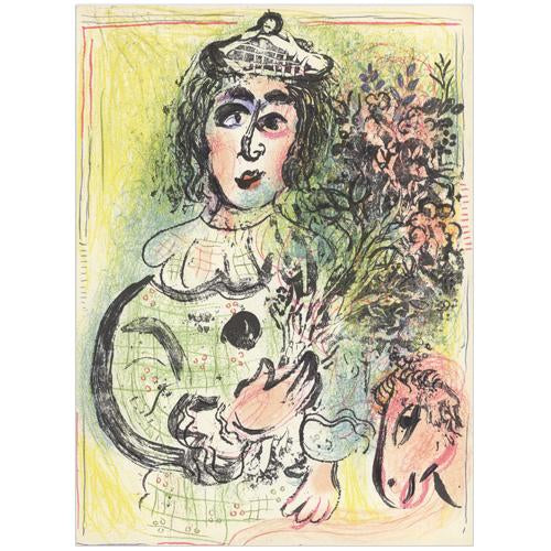 "Marc Chagall Original Lithogaph, ""The Clown with Flowers"""