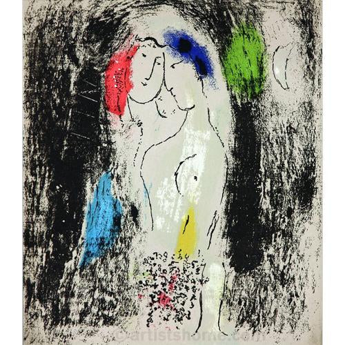 "Marc Chagall Original Lithogaph, ""Lovers in Grey"""