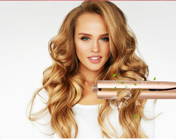 2-in-1 Flat Iron Gold Corn Roller Magic Hair Curler and Straightener