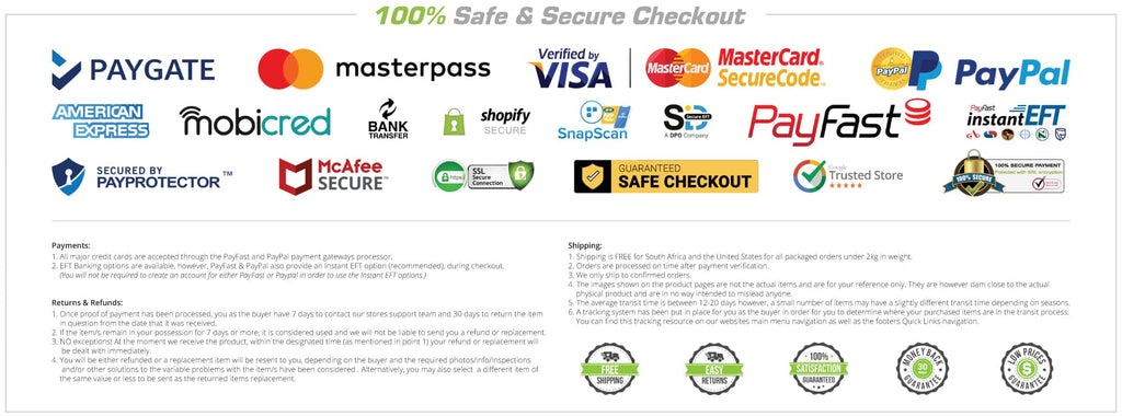100% Safe Secure Payments Shopping Online Checkout