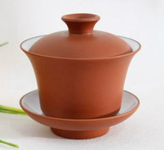 TEAWARES - Gaiwan - brown Yizing 'purple' clay with white glazed inside - 120 ml