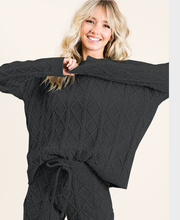 Load image into Gallery viewer, Soft Cozy Sweater Top + Pant (black)
