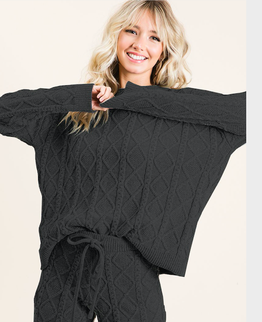 Soft Cozy Sweater Top + Pant (black)