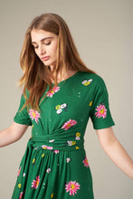 Load image into Gallery viewer, Mimi Jersey Dress - Green Autumn Gerberas