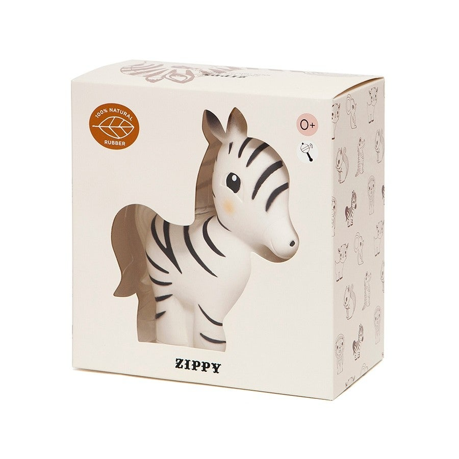 100% Natural Rubber Toy Zippy the Zebra