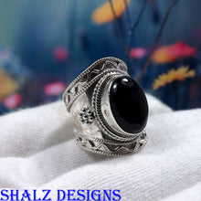 Load image into Gallery viewer, Black Onyx Ring, Onyx Ring, 925 Sterling Silver, Women Ring, Hammered Ring, Women Gift, Jewellery Sale, Solid Silver Ring, Gift For Her