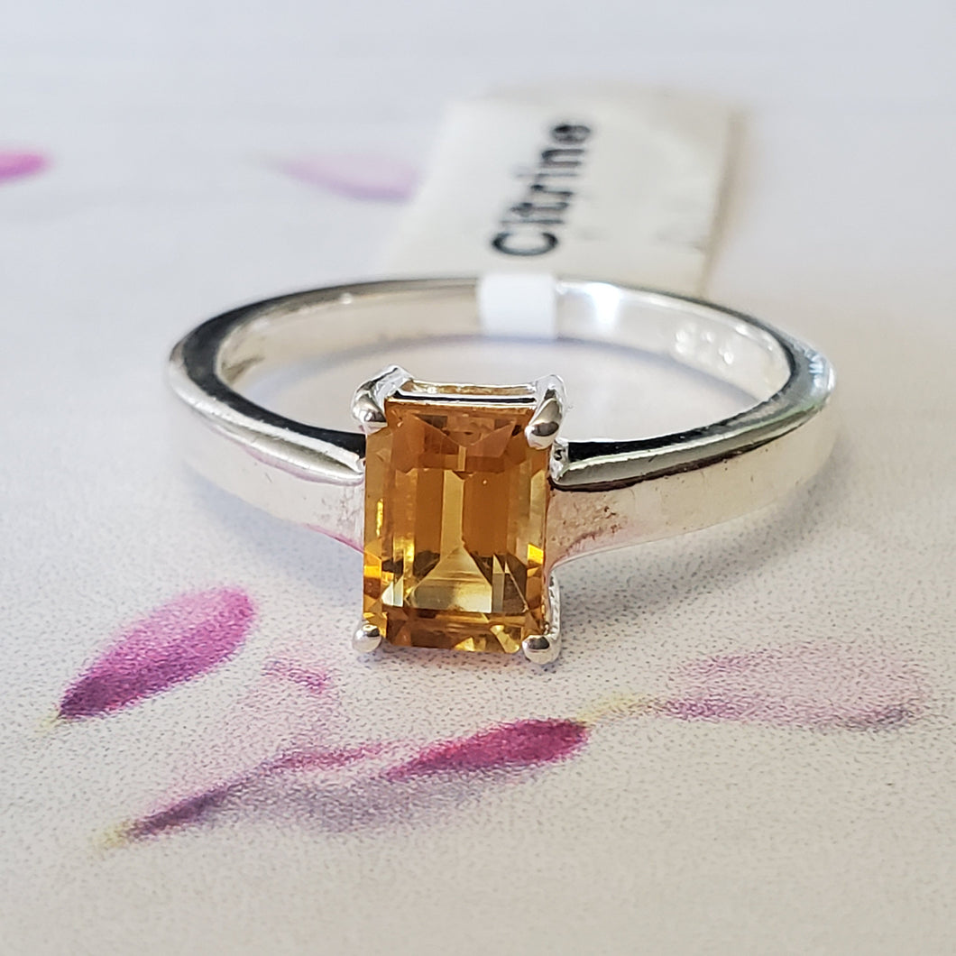 Size 7.5US, Engagement Ring, Prong Set Ring, Yellow Stone Ring, Sterling Silver Ring, Dainty Ring, Gift Idea, For Her, Lightweight Ring