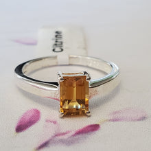 Load image into Gallery viewer, Size 7.5US, Engagement Ring, Prong Set Ring, Yellow Stone Ring, Sterling Silver Ring, Dainty Ring, Gift Idea, For Her, Lightweight Ring
