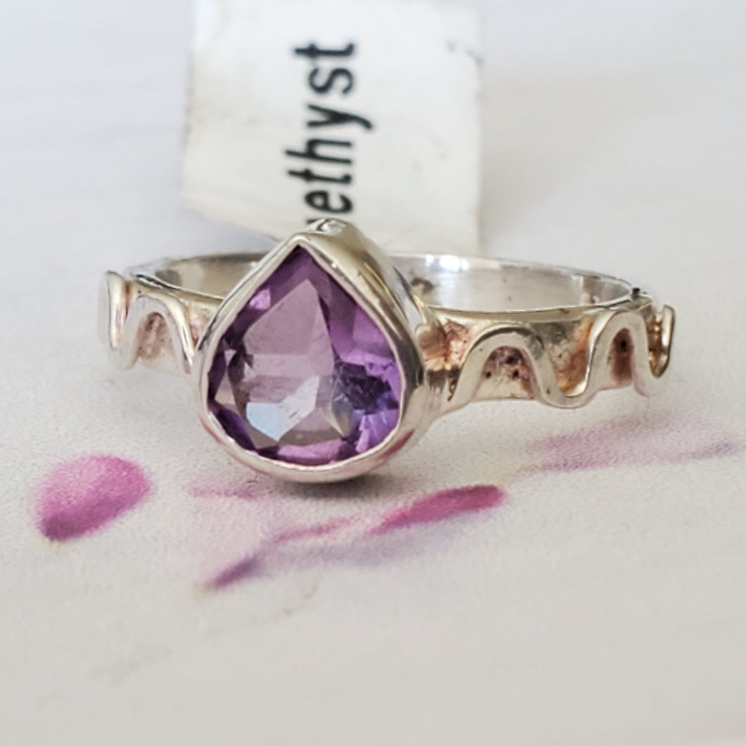 Size 5 US, AAA Amethyst Ring, Sterling Silver Ring, Natural Amethyst Ring, Real Gemstone Ring, Unique Ring, Designer RIng, Dainty Ring, RIng