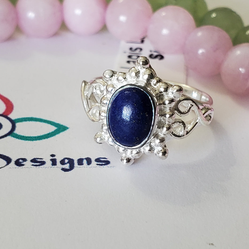 Size 6US, Lapis Lazuli Ring, Genuine Lapis Lazuli Ring, Oval Shape Ring, Sterling Silver Ring, Mother's Day, Gift For Mother, Jewellery, Z55
